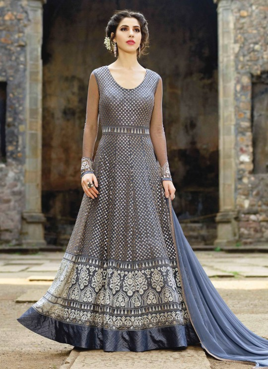 Grey Net Embroidered Floor Length Anarkali MONARK 1607 By Bela Fashion