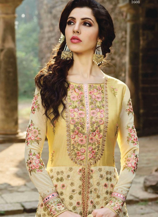Cream Georgette Embroidered Anarkali Suit MONARK 1608 By Bela Fashion