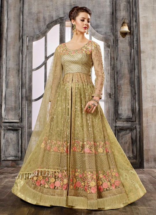 Green Net Embroidered Skirt Kameez 1611-1619 1613 By Bela Fashion