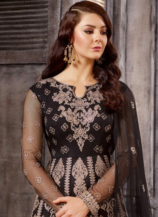 Black Net Embroidered Anarkali Suit 1611-1619 1615 By Bela Fashion