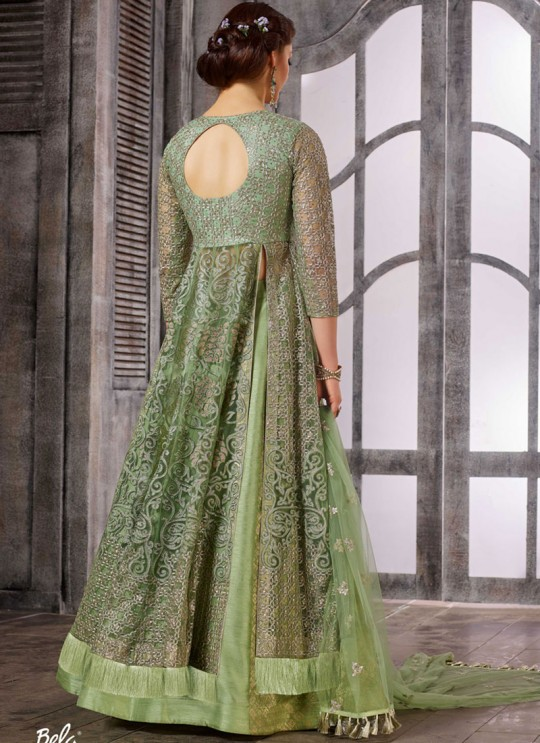 Green Net Embroidered Skirt Kameez 1611-1619 1617 By Bela Fashion