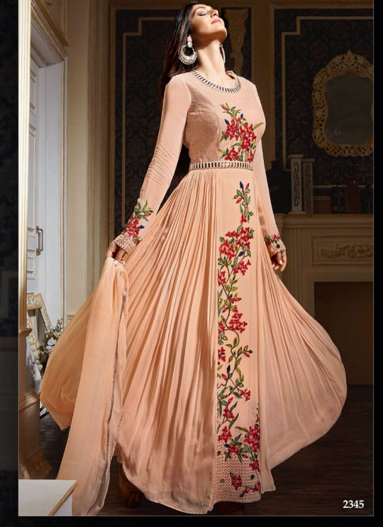 Peach Georgette Embroidered Floor Length Anarkali 2345 Series 2345 By Bela Fashion