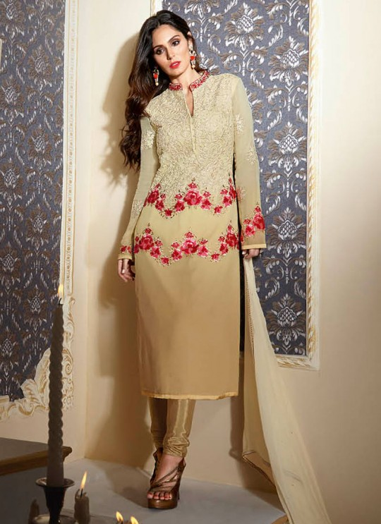 Beige Georgette Embroidered Churidar Suit 2345 Series 2347 By Bela Fashion