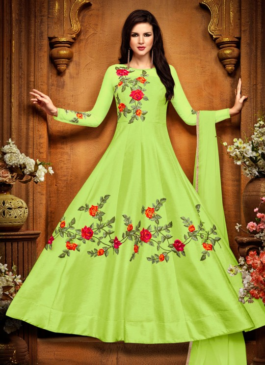 Green Silk Embroidered Anarkali Suit MEHZABEEN 2489B By Bela Fashion