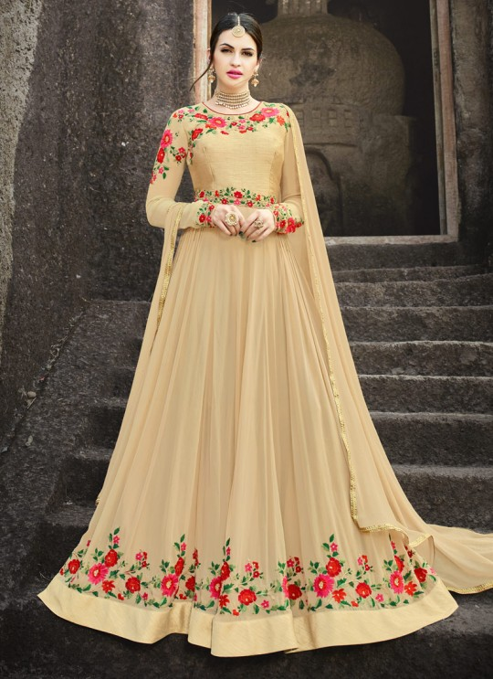 Beige Georgette Embroidered Floor Length Anarkali MEHZABEEN VOL-2 2493 By Bela Fashion