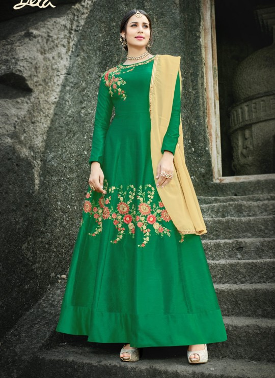 Green Silk Embroidered Gown Style Anarkali MEHZABEEN VOL-2 2494 By Bela Fashion