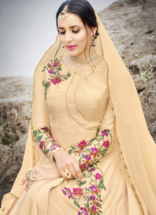Beige Silk Embroidered Gown Style Anarkali MEHZABEEN VOL-2 2496 By Bela Fashion