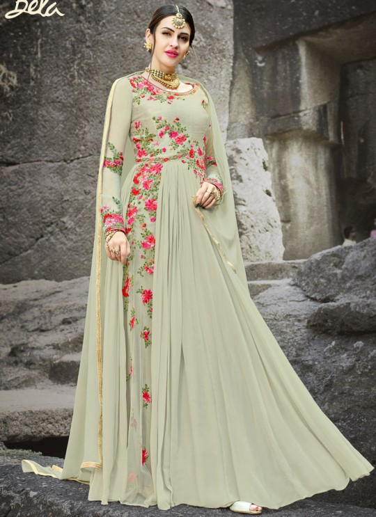Smoke Grey Georgette Embroidered Gown Style Anarkali MEHZABEEN VOL-2 2498 By Bela Fashion