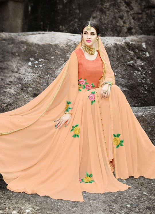Peach Georgette Embroidered Gown Style Anarkali MEHZABEEN VOL-2 2499 By Bela Fashion