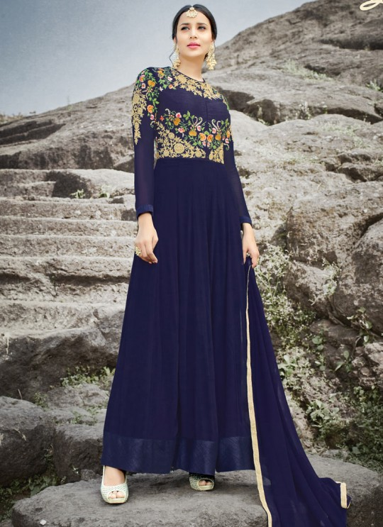 Blue Georgette Embroidered Gown Style Anarkali MEHZABEEN VOL-2 2500 By Bela Fashion