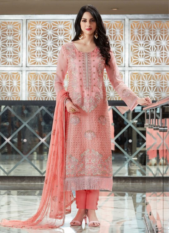 Pink Organza Embroidered Straight Suits MONARK 405 By Bela Fashion