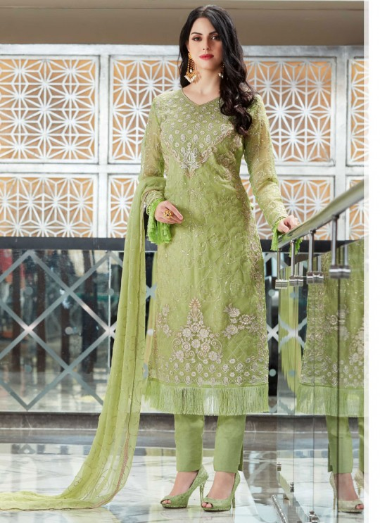 Green Organza Embroidered Straight Suits MONARK 406 By Bela Fashion