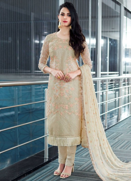 Beige Organza Embroidered Straight Suits MONARK 407 By Bela Fashion