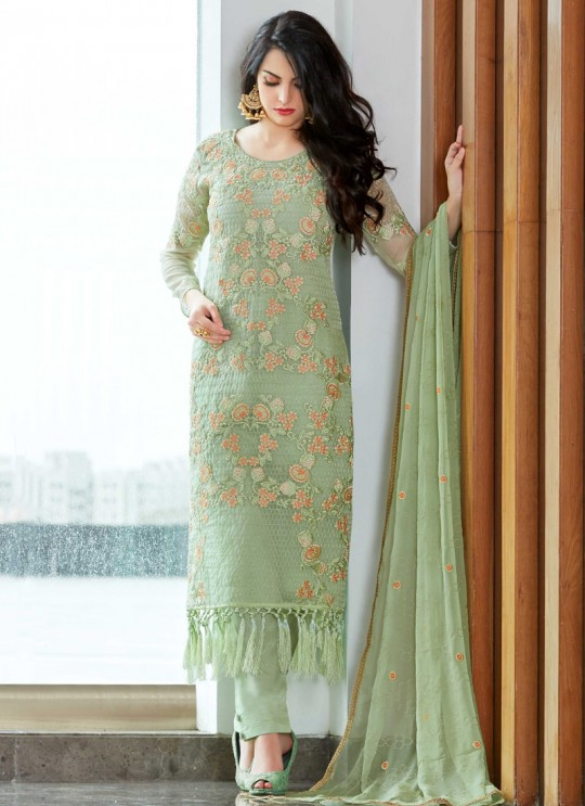 Pista Green Organza Embroidered Straight Suits MONARK 409 By Bela Fashion