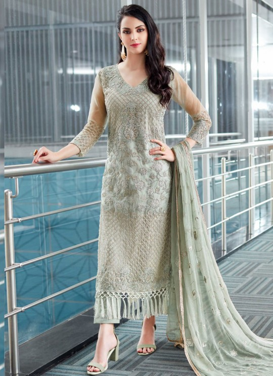 Grey Organza Embroidered Straight Suits MONARK 411 By Bela Fashion