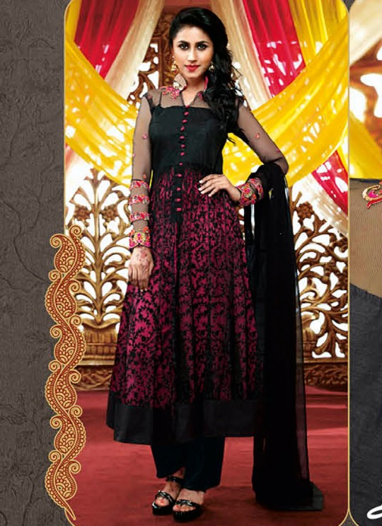 Black Net Embroidered Anarkali Suit 8101 Series 8108 By Bela Fashion