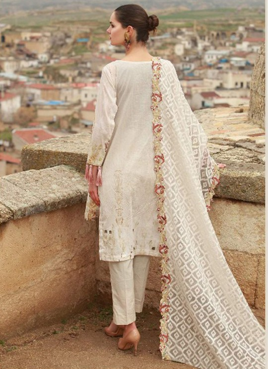 Cream Cotton Pakistani Salwar Kameez MAHIYMAAN 10008 By Deepsy