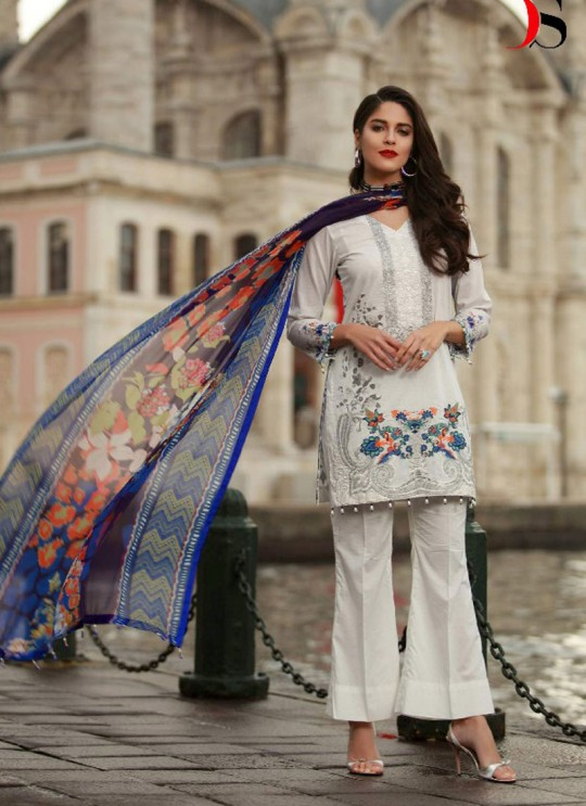 White Cotton Pakistani Salwar Kameez MUSLIN-2 100206 By Deepsy