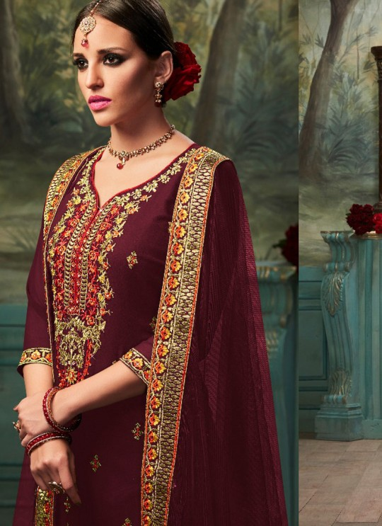 Wine Geoegette Pakistani Palazzo Suit GOLD 1003 C Color By Deepsy