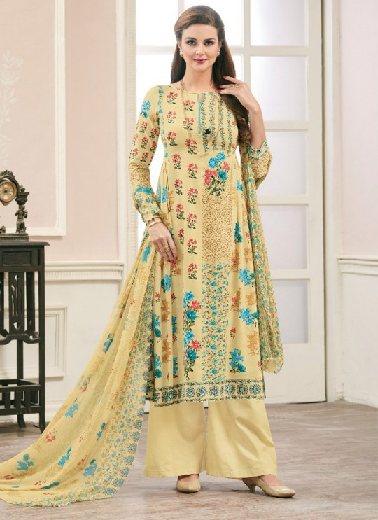 Yellow JAM SILK COTTON Pakistani Salwar Kameez ATTRACTION NX 1004 By Deepsy