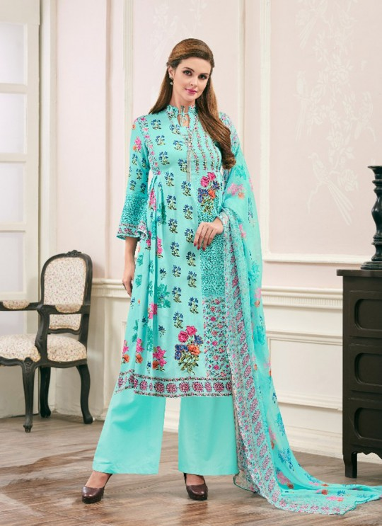 Turquoise JAM SILK COTTON Pakistani Salwar Kameez ATTRACTION NX 1007 By Deepsy