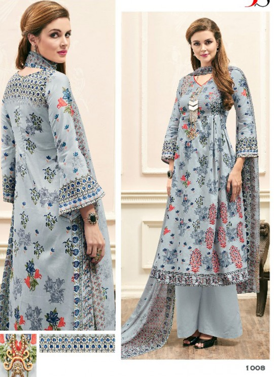 Grey JAM SILK COTTON Pakistani Salwar Kameez ATTRACTION NX 1008 By Deepsy