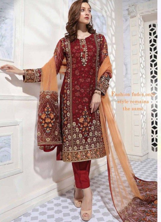 Wine Geoegette Straight Cut Suit GULBANO-2 100902 By Deepsy