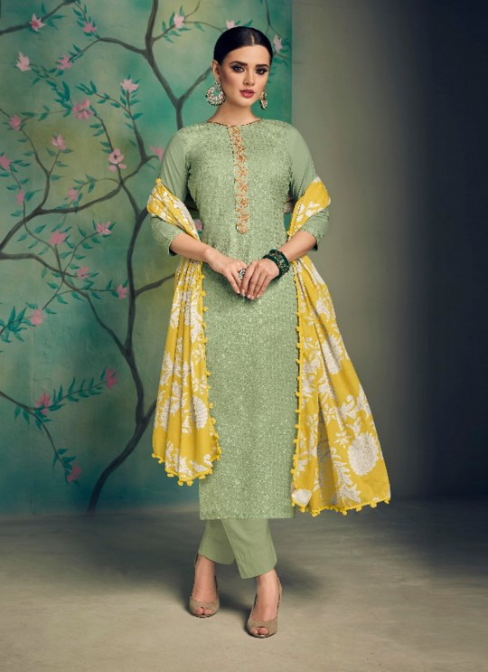 Green Cotton Pakistani Salwar Kameez KARIGIRI NX 13003 By Deepsy
