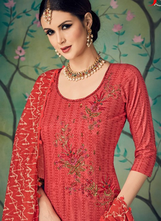 Red Cotton Straight Cut Suit BAGHBAN 15001 By Deepsy