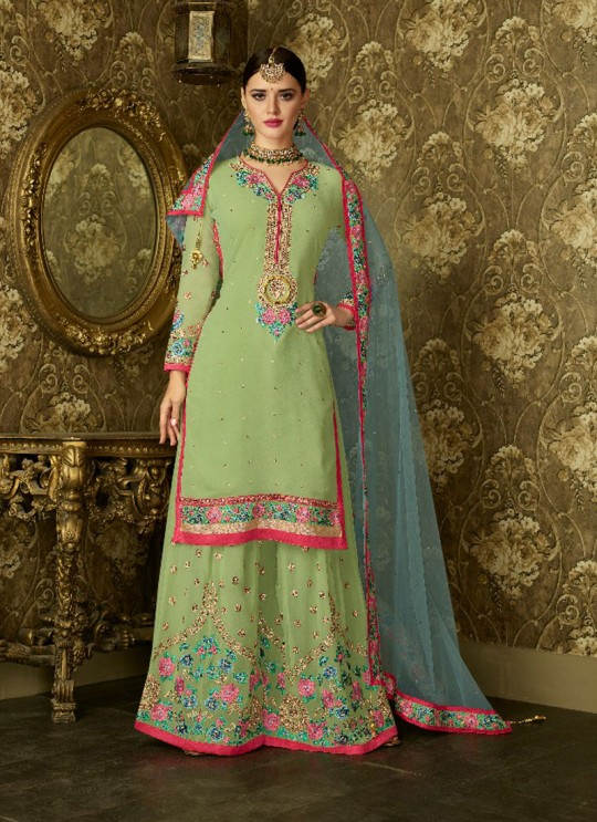 Green Geoegette Pakistani Palazzo Suit DULHAN 2 BRIDEL COLLECTION 2001 By Deepsy
