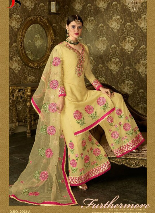 Beige Geoegette Pakistani Palazzo Suit DULHAN 2 BRIDEL COLLECTION 2002A Color By Deepsy