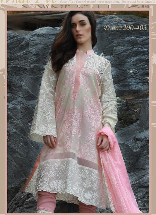 Off White Cotton Pakistani Salwar Kameez CREATION Vol-3 200403 By Deepsy