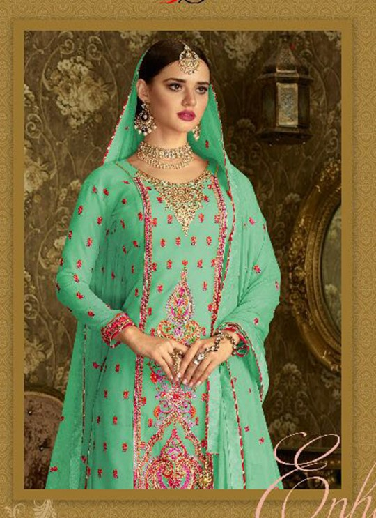 Green Geoegette Pakistani Sharara Salwar Kameez DULHAN 2 BRIDEL COLLECTION 2004B Color By Deepsy