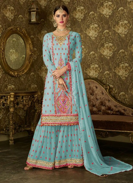 Ice Blue Geoegette Pakistani Sharara Salwar Kameez DULHAN 2 BRIDEL COLLECTION 2004C Color By Deepsy