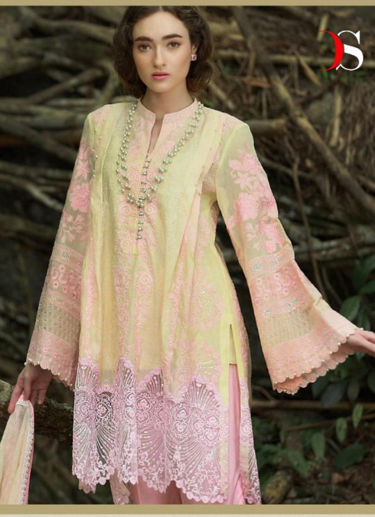 Yellow Cotton Pakistani Salwar Kameez NOMI ANSARI 300101 By Deepsy