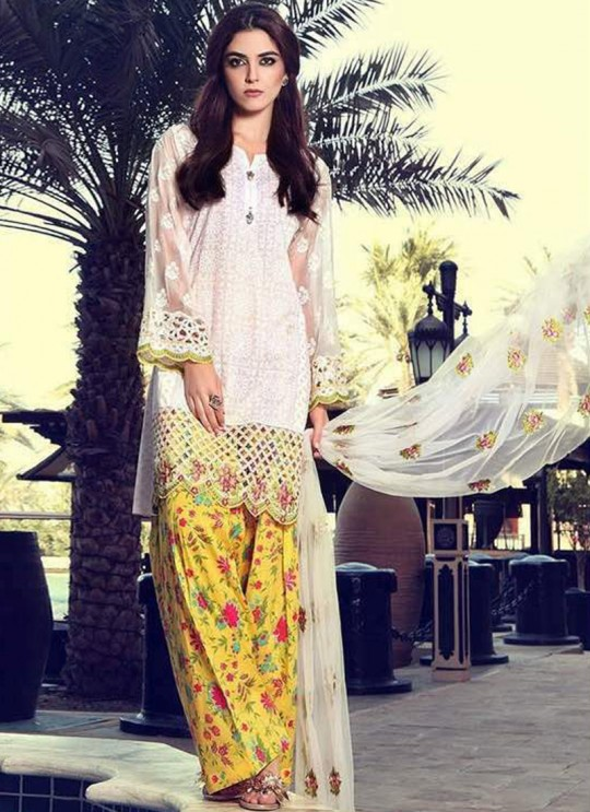 White Cotton Pakistani Salwar Kameez MARIA B 57003 By Deepsy