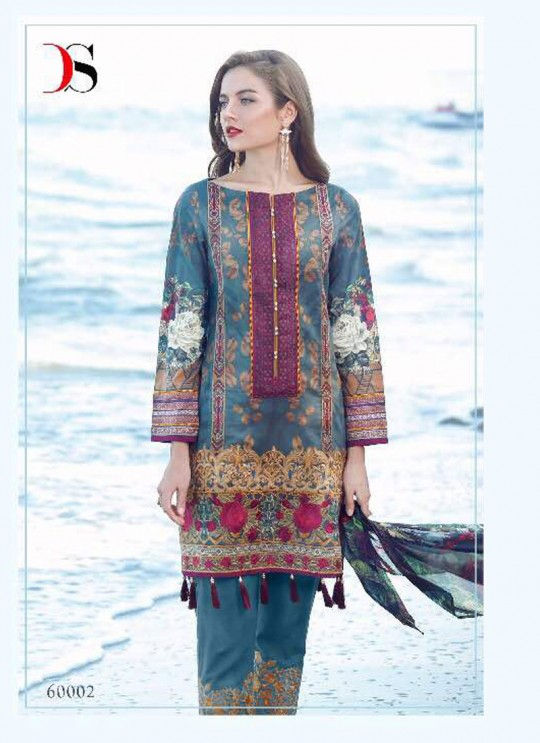 Blue Cotton Pakistani Salwar Kameez FLORENT Vol-14 60002 By Deepsy