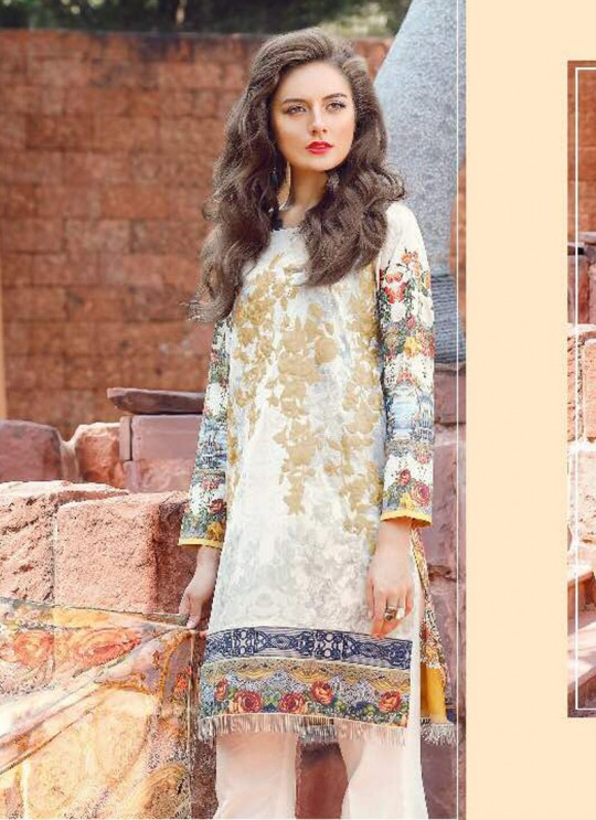 Cream Cotton Pakistani Salwar Kameez FLORENT Vol-14 60003 By Deepsy