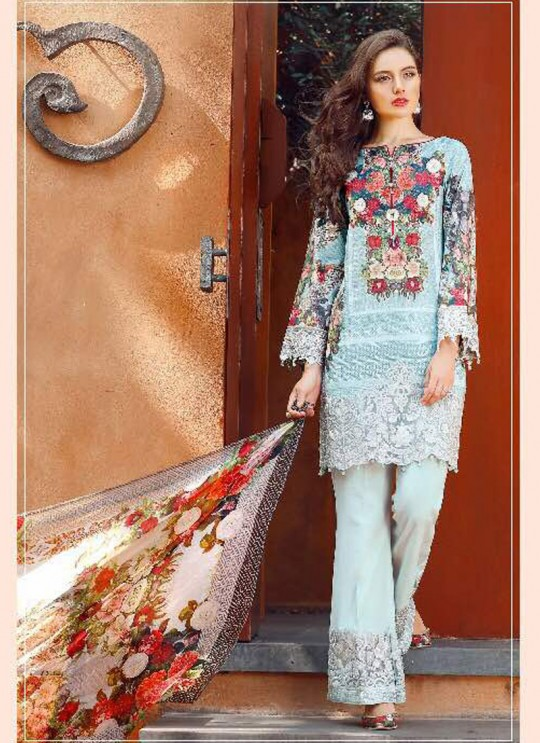 Ice Blue Cotton Pakistani Salwar Kameez FLORENT Vol-14 60007 By Deepsy