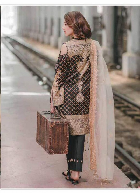Black Cotton Pakistani Salwar Kameez CARNATION 65001 By Deepsy
