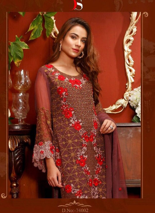 Brown Geoegette Pakistani Salwar Kameez NASREEN Vol-2 74002 By Deepsy