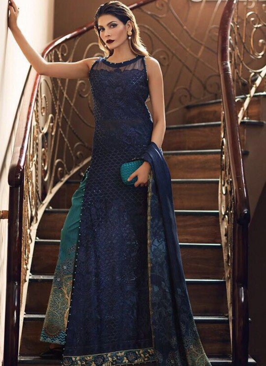 Blue Cotton Pakistani Salwar Kameez CARNATION VOL-2 75003 By Deepsy