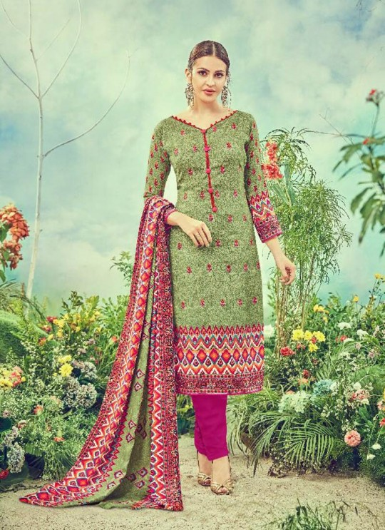 Green Cotton Satin Straight Cut Suit DEEPSY FLORENCE Vol-3 83001 By Deepsy