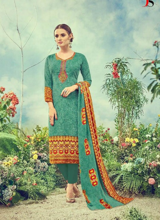 Green Cotton Satin Straight Cut Suit DEEPSY FLORENCE Vol-3 83002 By Deepsy