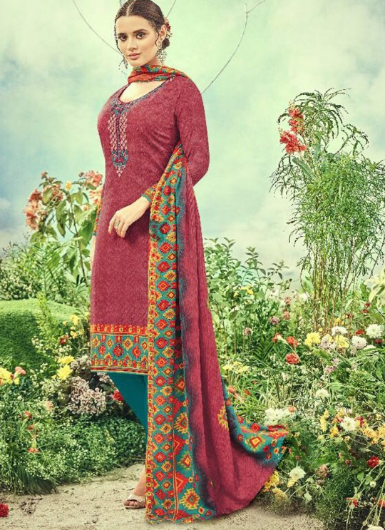 Red Cotton Satin Straight Cut Suit DEEPSY FLORENCE Vol-3 83003 By Deepsy