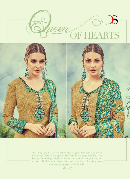 Olive Cotton Satin Straight Cut Suit DEEPSY FLORENCE Vol-3 83005 By Deepsy