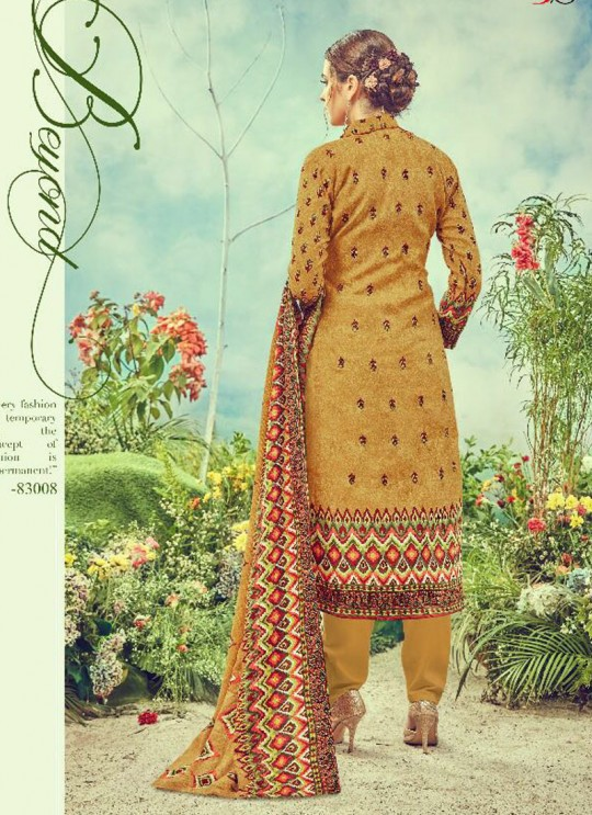 Mustard Cotton Satin Straight Cut Suit DEEPSY FLORENCE Vol-3 83008 By Deepsy