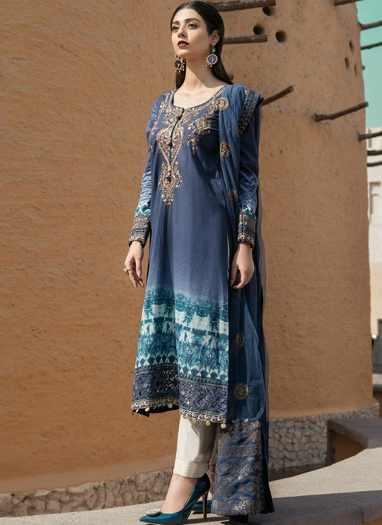 Blue Cotton Pakistani Salwar Kameez MARIA B-3 98001 By Deepsy