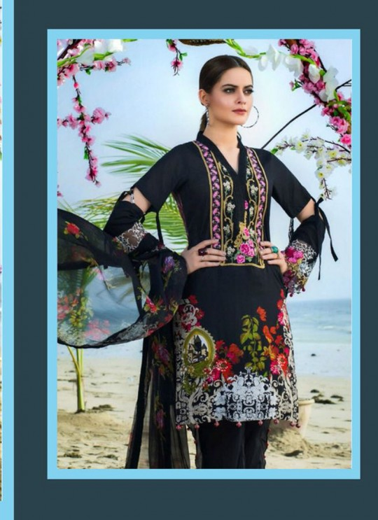 Black Cambric Cotton Embroidered Pakistani Salwar Suit ROSEMEEN RIMZIM BY FEPIC 1001 TO 1007 SERIES Fepic 1002