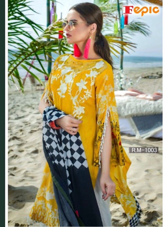 Yellow Cambric Cotton Embroidered Pakistani Salwar Suit ROSEMEEN RIMZIM BY FEPIC 1001 TO 1007 SERIES Fepic 1003
